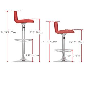 Terrific Corliving Adjustable Red Leatherette Low Back Bar Stool Set Gmtry Best Dining Table And Chair Ideas Images Gmtryco