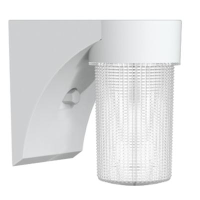 17-Watt White Outdoor Integrated LED Jelly Jar Wall Pack Light with Dusk to Dan Control