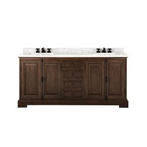 Clinton 72 in. W Double Vanity in Antique Coffee with Natural Marble Vanity Top in White with White Sink