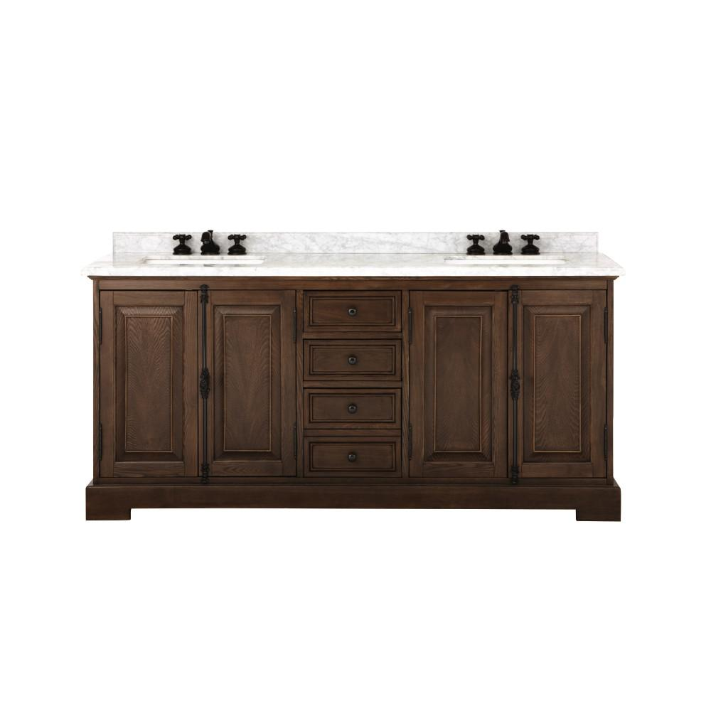 Home Decorators Collection Clinton 72 in. W Double Vanity in Antique Coffee  with Natural Marble - Home Decorators Collection Clinton 72 In. W Double Vanity In Antique