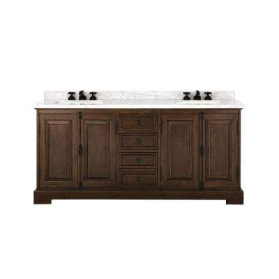 Clinton 72 in. W Double Vanity in Antique Coffee with Natural Marble Vanity Top in White with White Basin