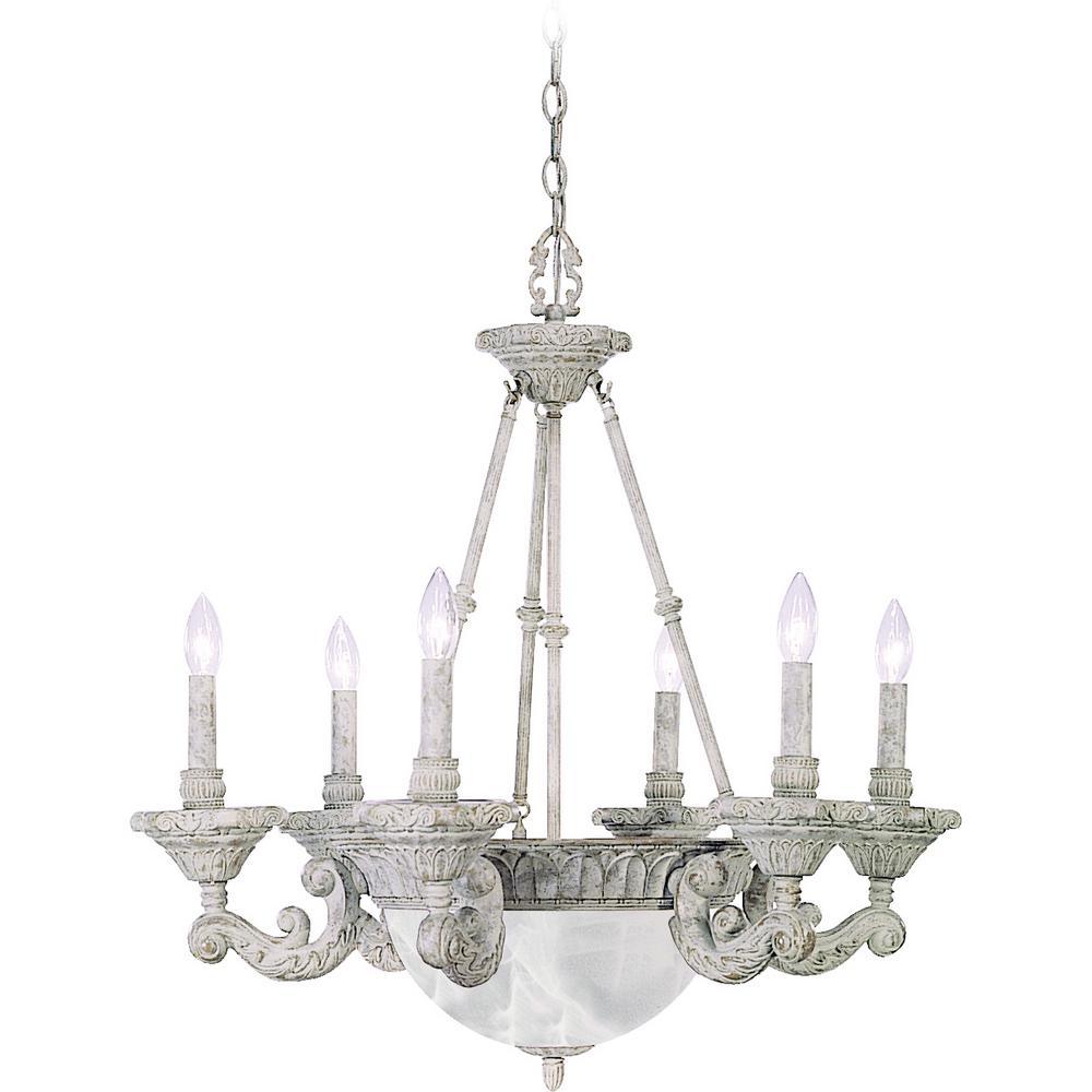Stratford 9-Light Interior/Indoor Castle Beige Hanging Candle Style Chandelier with Candelabra