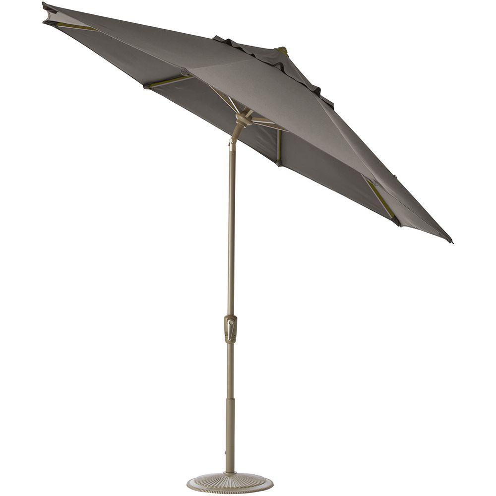 Home Decorators Collection 11 ft. Auto Tilt Patio Umbrella in Graphite Sunbrella-DISCONTINUED