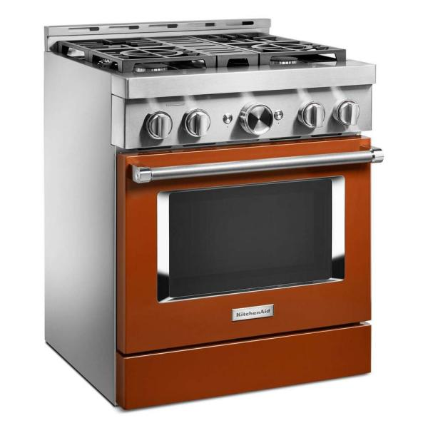 Kitchenaid 30 In 4 1 Cu Ft Smart Commercial Style Gas Range With Self Cleaning And True Convection In Scorched Orange Kfgc500jsc The Home Depot