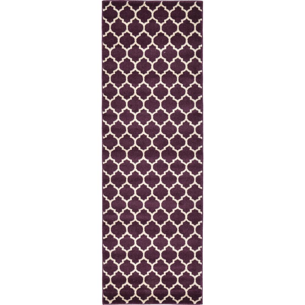 Purple Rug 2 Ft: Unique Loom Geometric Trellis Purple 2.5 Ft. X 8 Ft