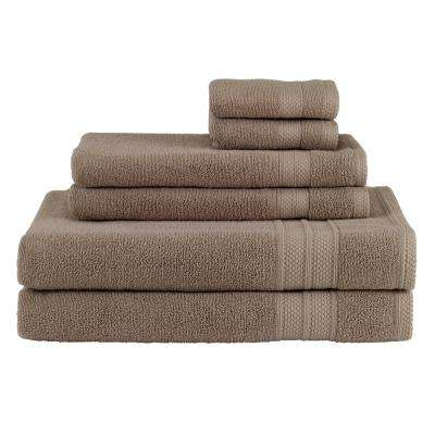 Solid 6-Piece Taupe Towel Set