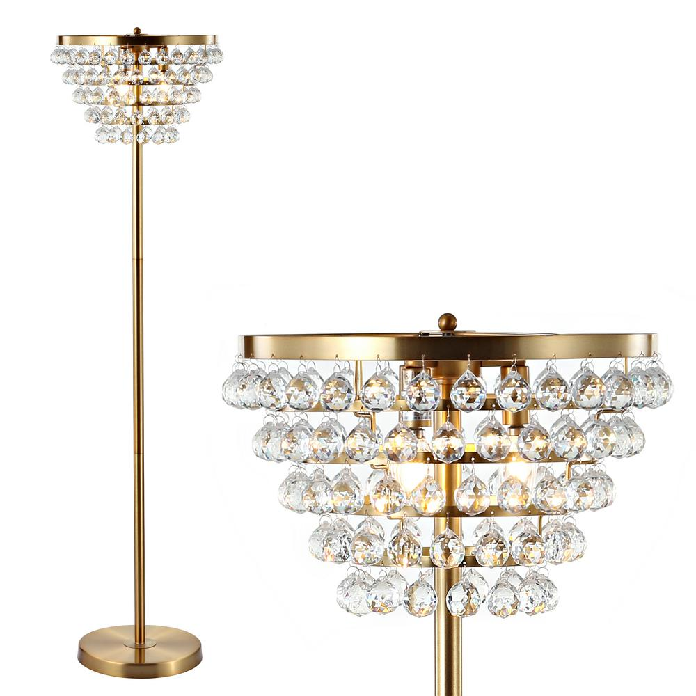 Jonathan Y Jemma 60 In Br Gold Clear Crystal Metal Led Floor Lamp