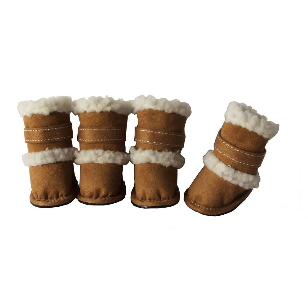 Petlife Large Brown Shearling Duggz Shoes (Set of 4)