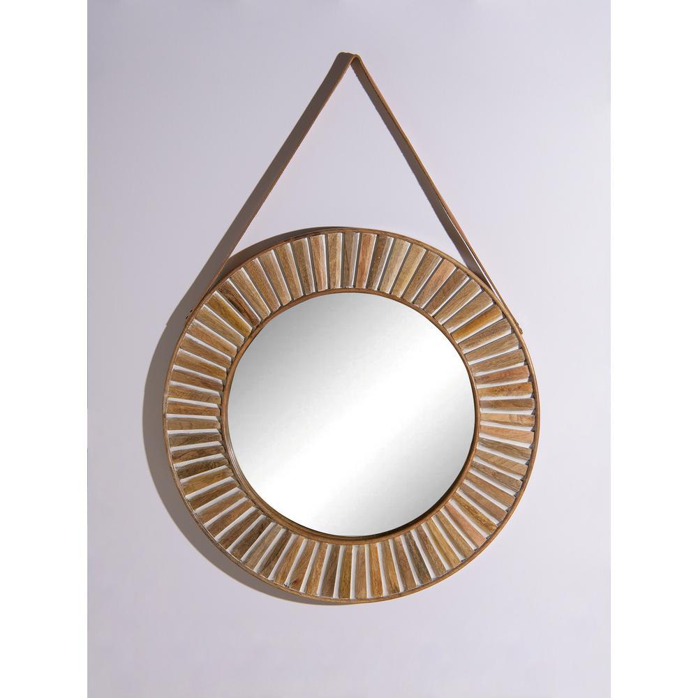 Medium Round Whitewashed Wood Contemporary Mirror (26 in. H x 27 in. W)