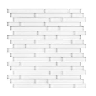 Serenity White 11.65 in. x 11.69 in. x 5mm Glass Self Adhesive Wall Mosaic Tile (11.4 sq. ft. / case)