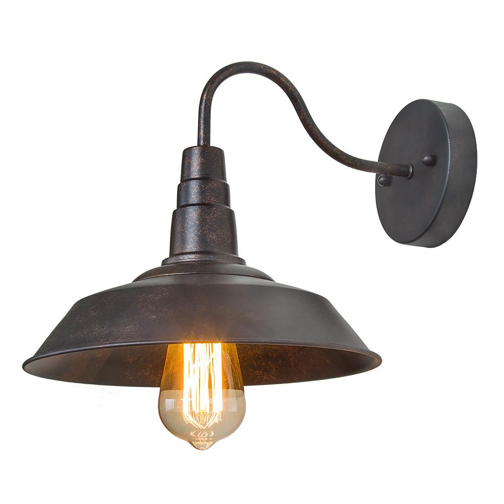 LNC 1-Light Rust Gooseneck Wall Sconce-A0224105