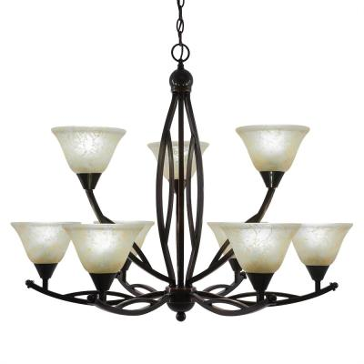 9-Light Black Copper Chandelier with 7 in. Amber Marble Glass