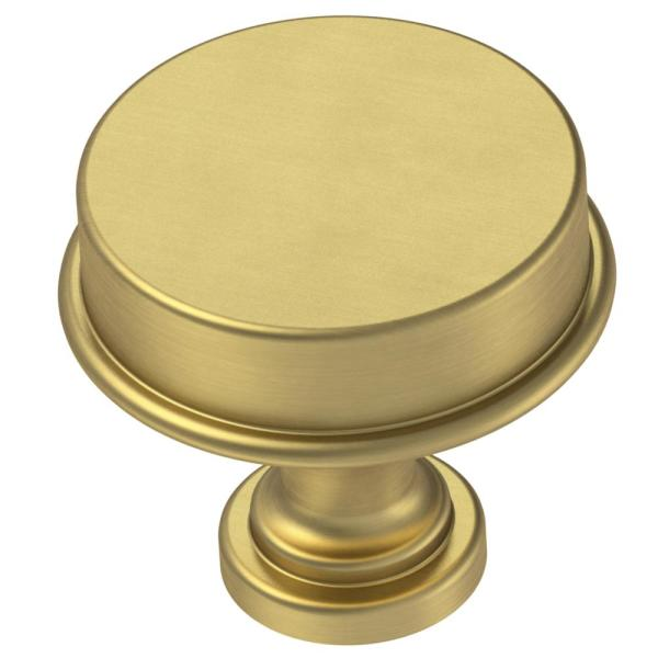 Classic Elegance 1-5/16 in. (33mm) Brushed Brass Round Cabinet Knob