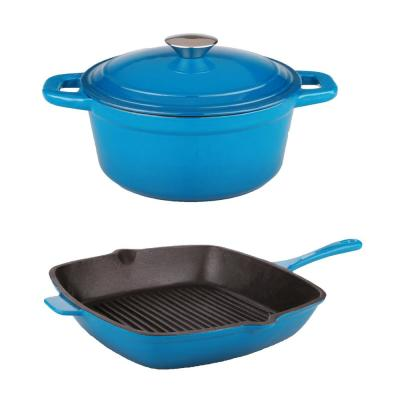 Neo Cast Iron Stockpot and Grill Pan Set