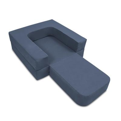 3-in-1 Blue Fabric Convertible Chaise Lounge