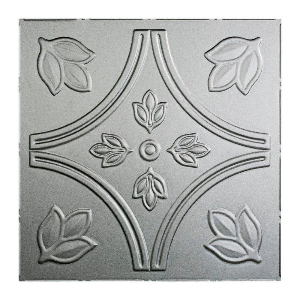 Fasade Traditional 5 - 2 ft. x 2 ft. Lay-in Ceiling Tile in Crosshatch Silver