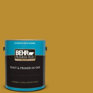 Behr Premium Plus 1 Gal 360d 7 Brown Mustard Satin Enamel Exterior Paint And Primer In One 934001 The Home Depot