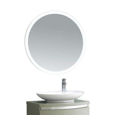 31 in. x 31 in. LED Framed Single Wall Mirror in White