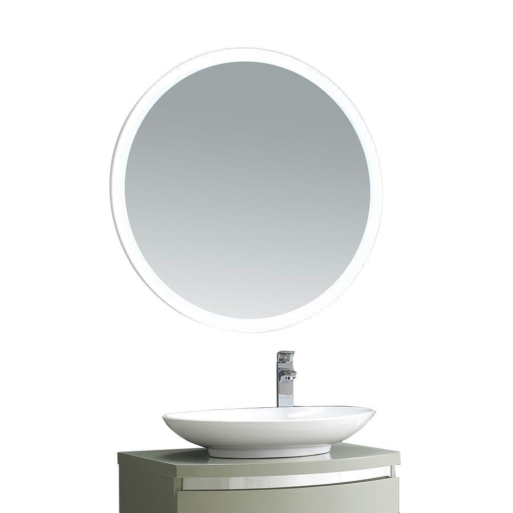 OVE Decors Aries 31 in. x 31 in. LED Framed Single Wall Mirror in White