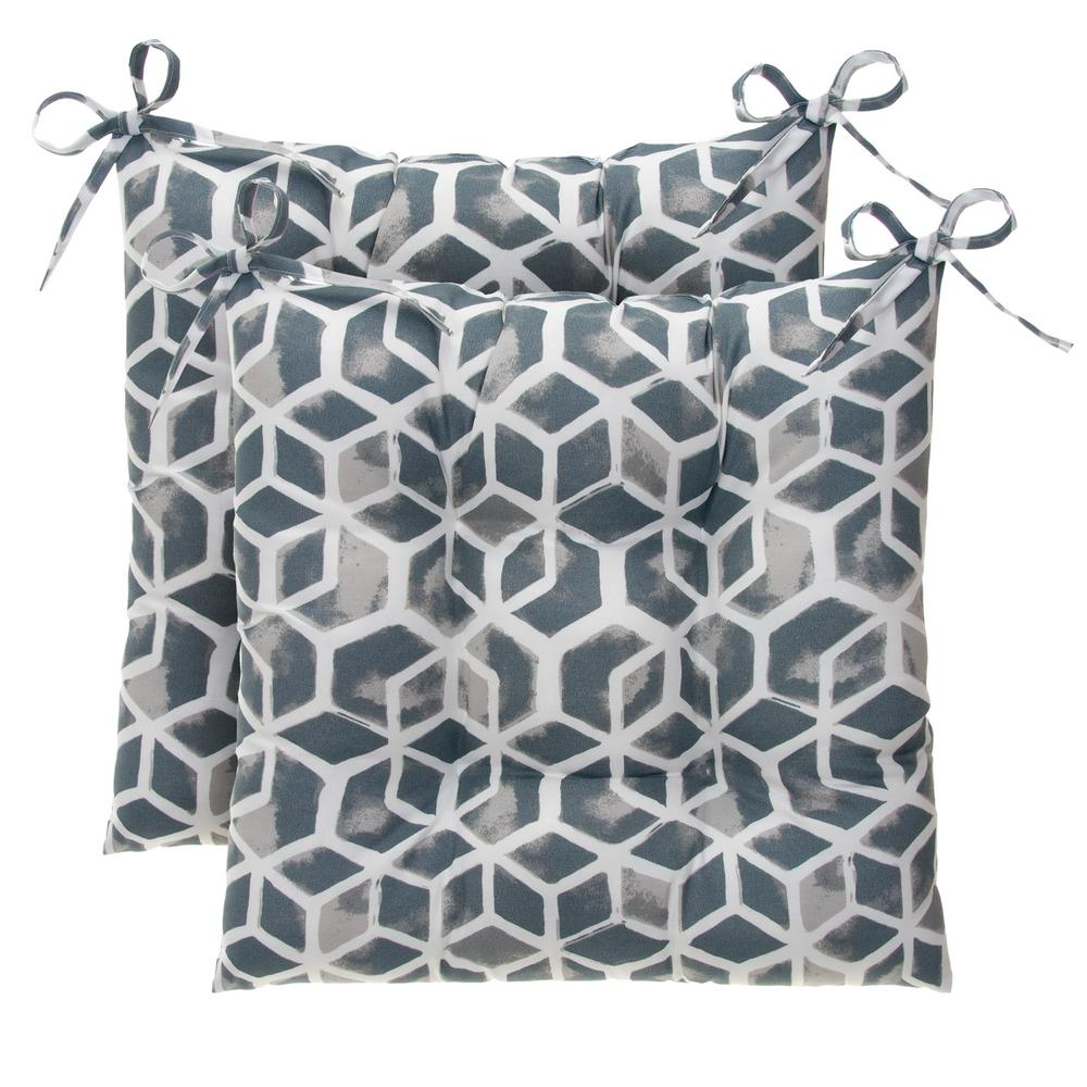 Cubed Grey Rectangular Tufted Outdoor Seat Cushion (2-Pack)