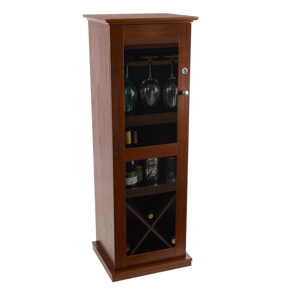 Herrin 16-Bottle 9-Glass Textured Chestnut Locking Bar Wine Cabinet