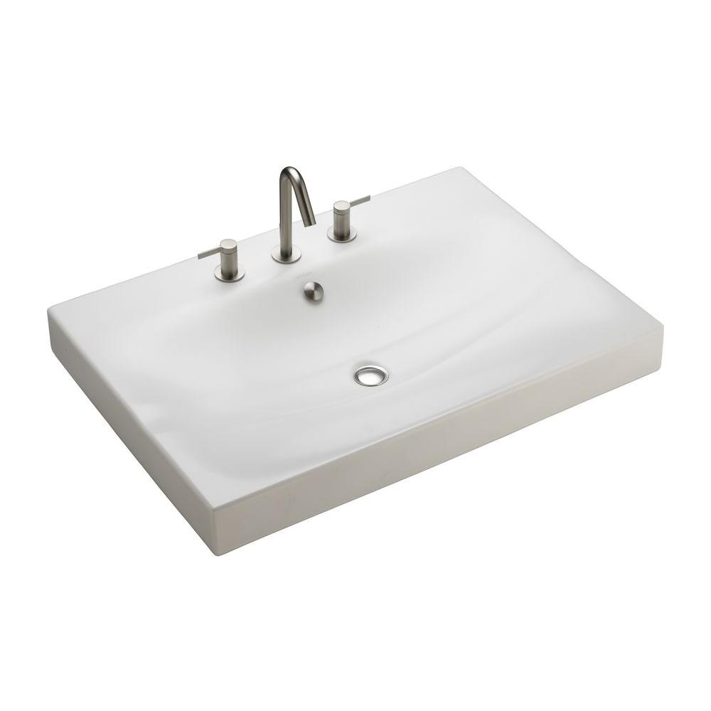 KOHLER Strela 30-7/16 in. x 21-7/8 in. Bathroom Sink Tabletop in Honed White-DISCONTINUED