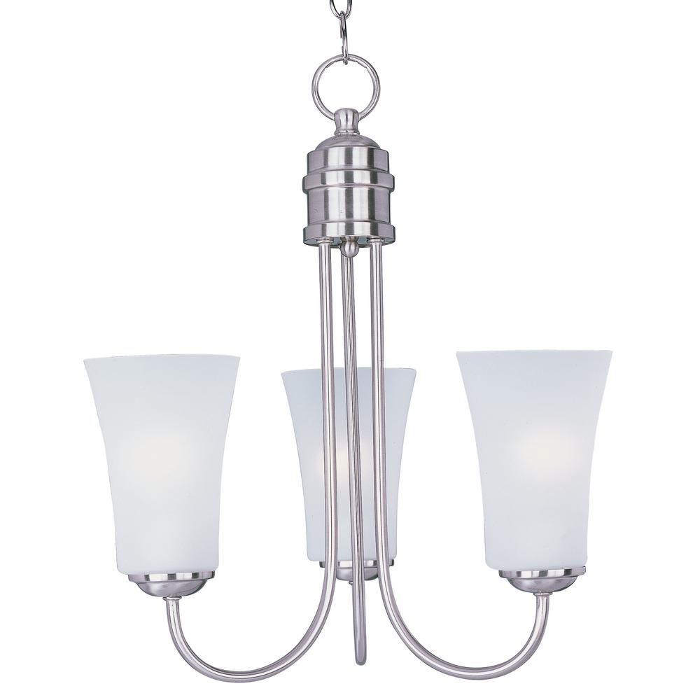 Logan 3-Light Satin Nickel Chandelier with Frosted Shade