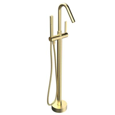 Single-Handle Freestanding Floor Mount Roman Tub Faucet Bathtub Filler with Hand Shower in Brushed Brass