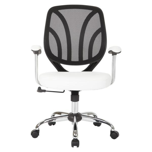 Astounding Office Star Products White Faux Leather Screen Back Chair Home Interior And Landscaping Ologienasavecom