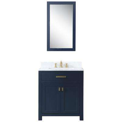 30 in. Bath Vanity in Monarch Blue With Carrara White Marble Vanity Top With Ceramics White Basins and Mirror and Faucet