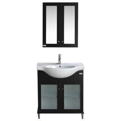 Tux 30 in. W x 19 in. D x 33 in. H Vanity in Espresso with Ceramic Top in White with White Basin