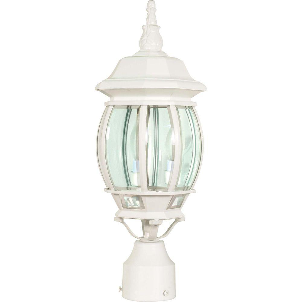 Glomar Central Park 3 Light White Outdoor Post Lantern With Clear Beveled Gl Shade