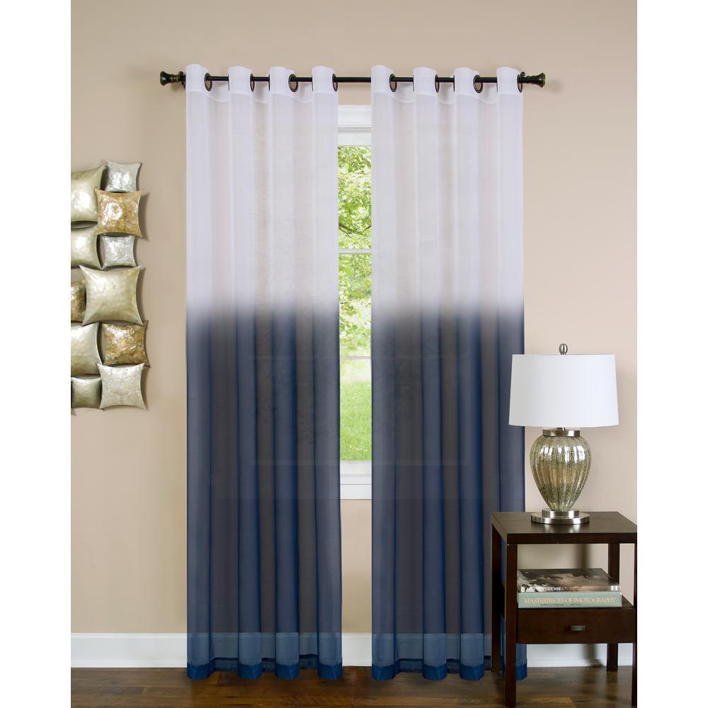 Sheer Essence Blue Window Curtain Panel - 52 in. W x 84 in. L