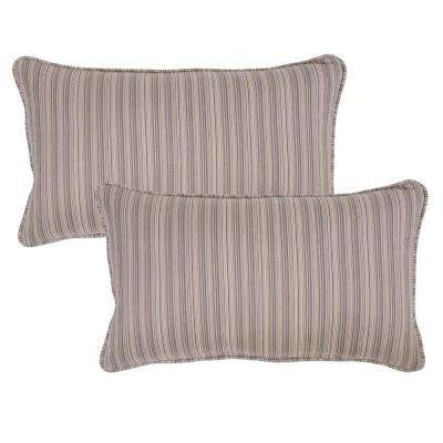 Saddle Stripe Lumbar Outdoor Throw Pillow (Pack of 2)