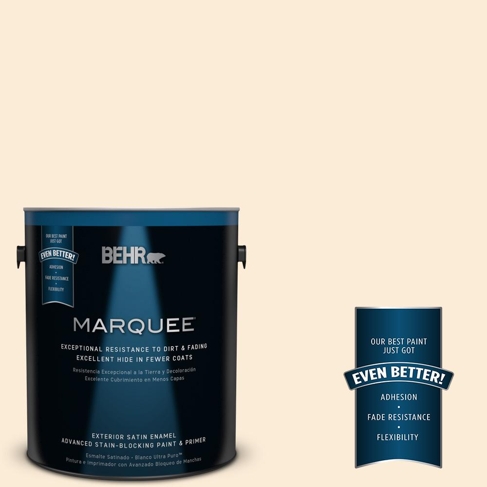 BEHR MARQUEE 1-gal. #ICC-90 Butter Yellow Satin Enamel Exterior Paint