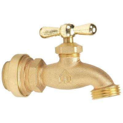 3/4 in. Brass Hose Bibb Valve with Push-Fit Connections