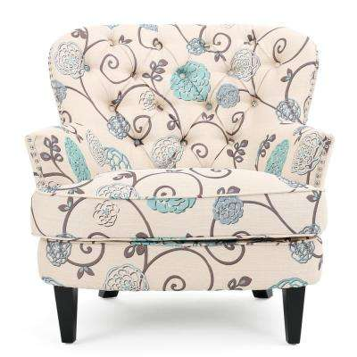 Tafton White and Blue Floral Fabric Tufted Club Chair