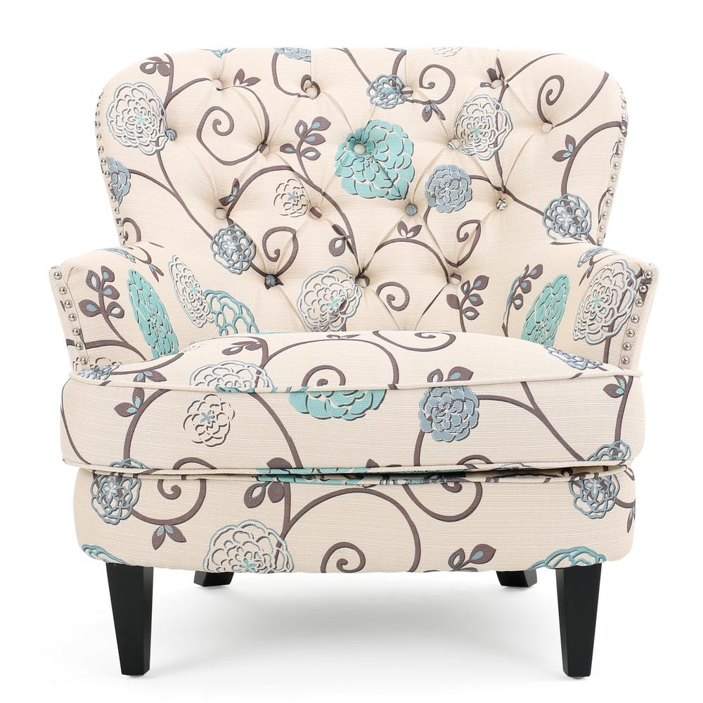 Noble House Tafton White and Blue Floral Fabric Tufted Club Chair  sc 1 st  Home Depot & Noble House Tafton White and Blue Floral Fabric Tufted Club Chair ...
