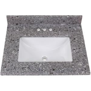 25 in. Stone Effect Vanity Top in Mineral Gray with White Sink