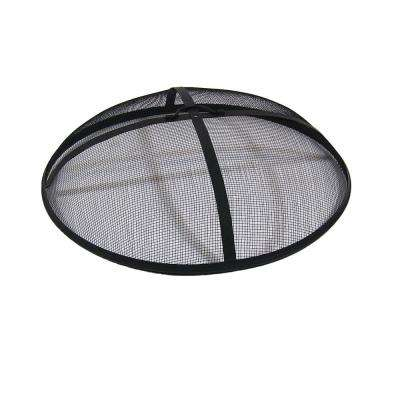 40 in. Round Black Steel Fire Pit Spark Screen