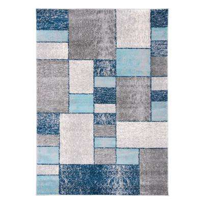 Geometric Distressed Squares 7 ft. 10 in. x 10 ft. Blue Area Rug