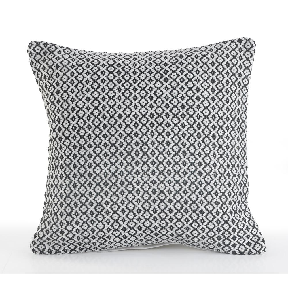 Petite Diamond Black and White Geometric Hypoallergenic Polyester 18 in. x 18 in. Throw Pillow
