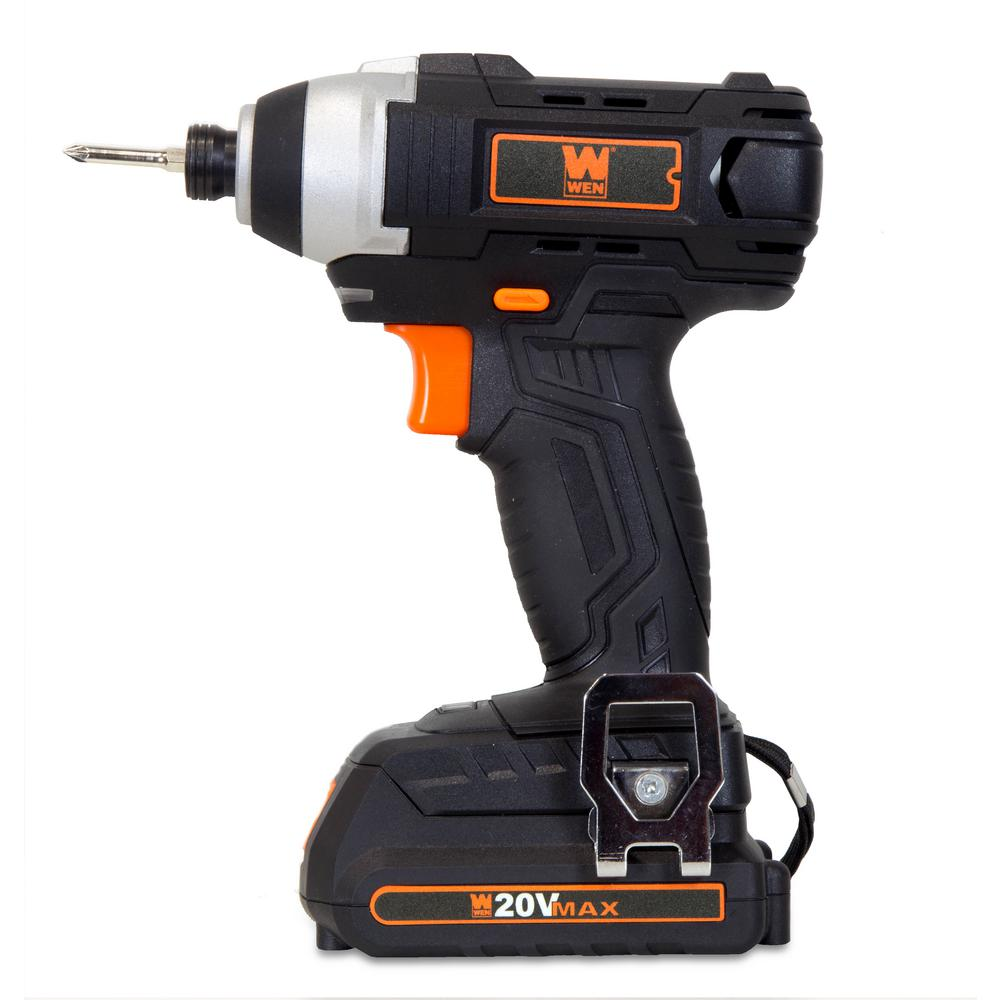 Wen 20 Volt Max Lithium Ion Cordless 1/4 In. Impact Driver With Battery Bits Charger And Carrying Bag