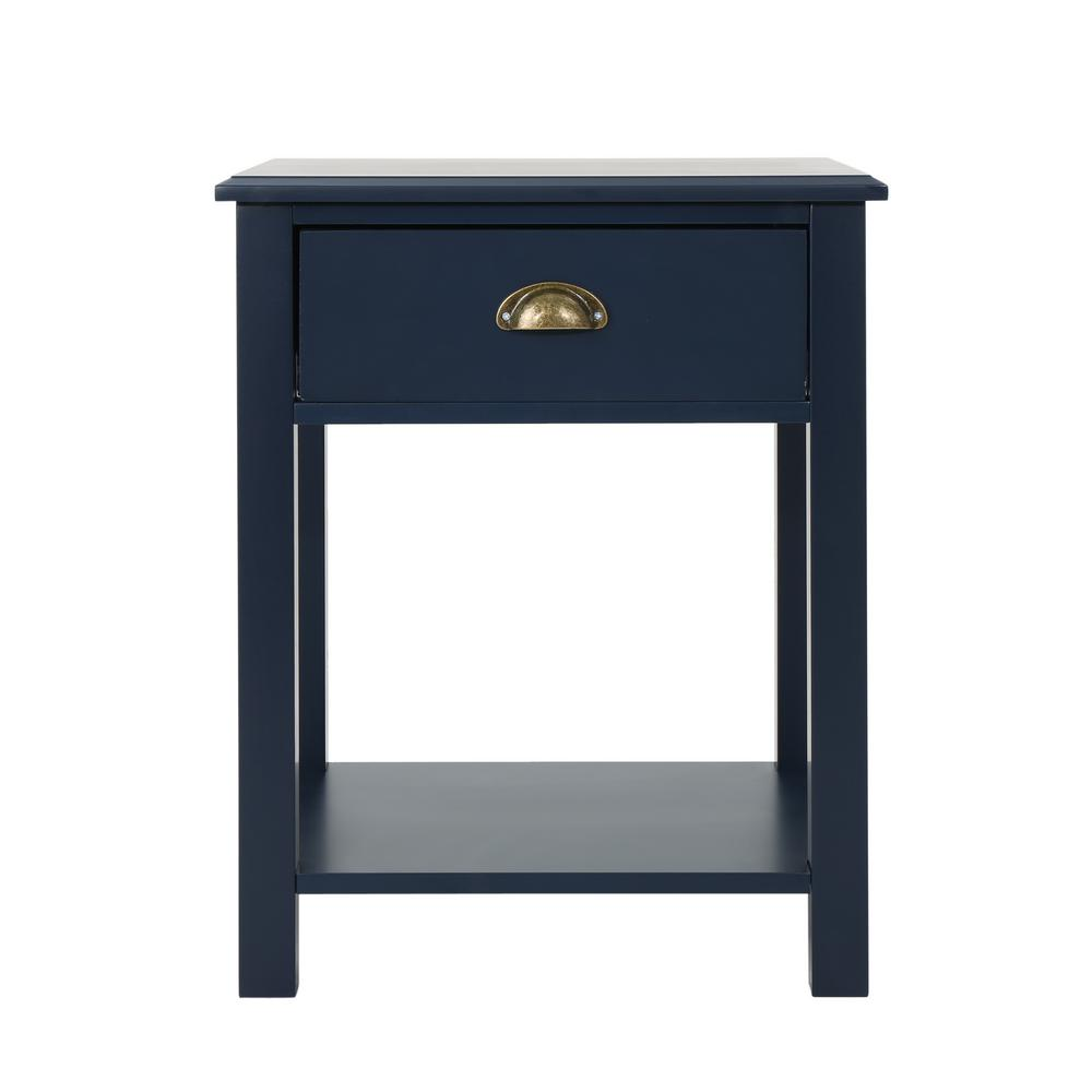 Arnav traditional dark blue wooden accent side table with drawer and shelf