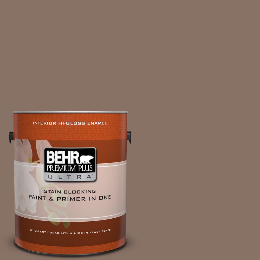 1 gal. #770B-6 Oakwood Brown Hi-Gloss Enamel Interior Paint