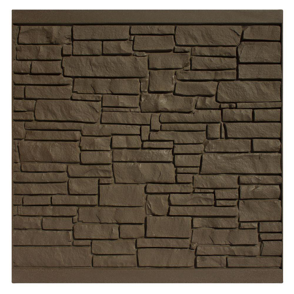 6 ft. H x 6 ft. W EcoStone Dark Brown Composite