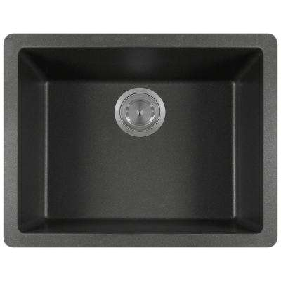 Dualmount Granite Composite 22 in. Single Bowl Kitchen Sink in Black