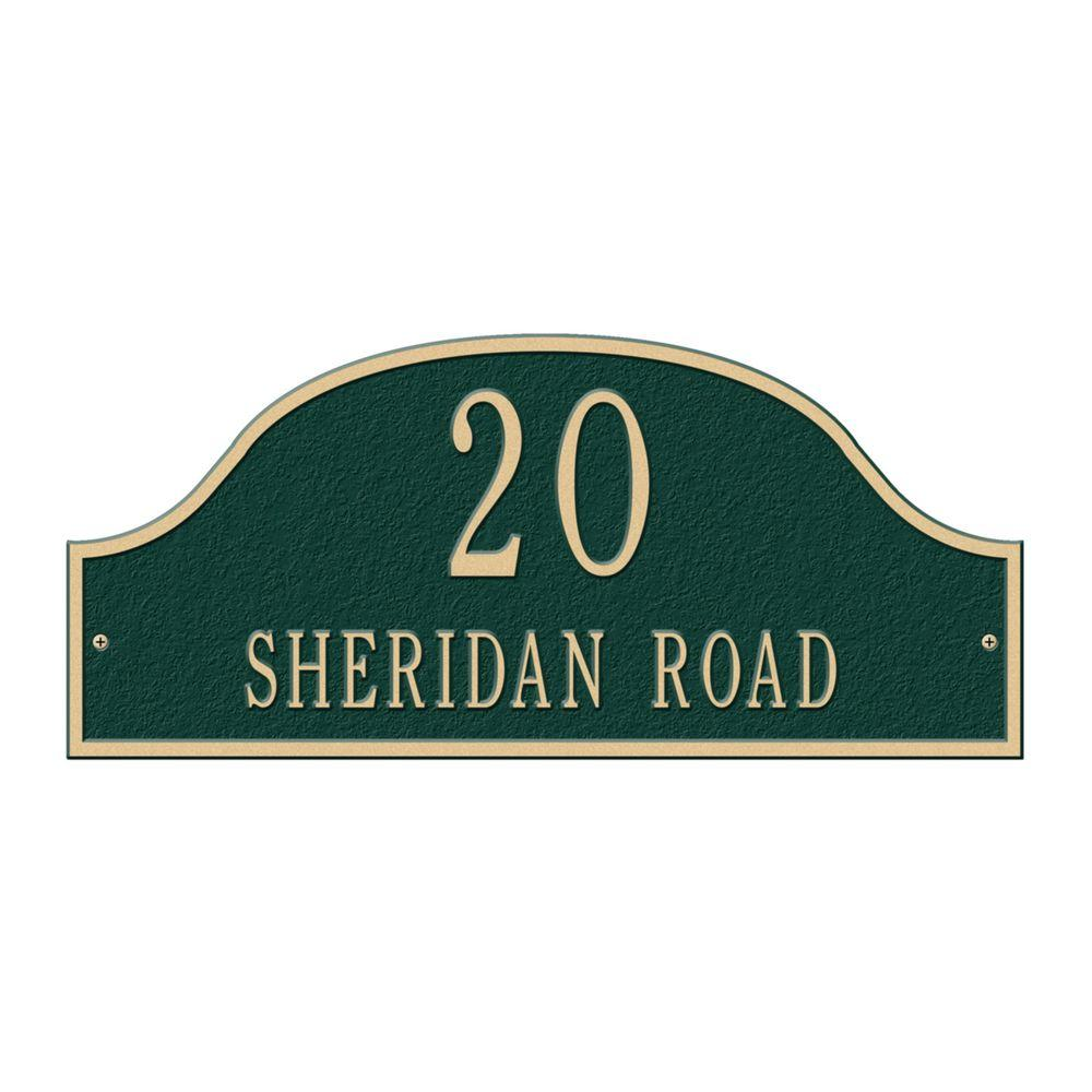 Admiral Standard Arch Green/Gold Wall Two Line Address Plaque