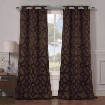 Charlotte 38 in. x 84 in. L Polyester Blackout Curtain Panel in Chocolate (2-Pack)