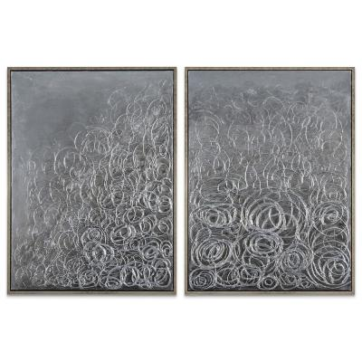 """48 in. x 36 in. """"Circular Logic"""" - Set of 2 Textured Metallic Hand Painted by Martin Edwards Wall Art"""